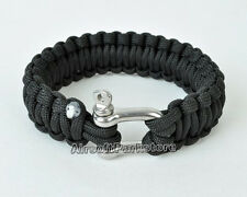 Parachute Emergency Strap Steel Buckle Bracelet Black