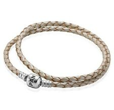 AUTHENTIC PANDORA Champagne/Beige Double Leather Bracelet LARGE (590705CPL-D3)
