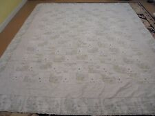 Pretty Blue & White Floral Granny Square w/Tiny Blue Embroidered Flowers Quilt