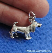 Silver BASSET HOUND CHARM 3D Puppy Dog Beagle PENDANT *NEW*