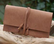 Blague à tabac avec bracelet cuir fixe naturel marron 16x9cm Tabatière ancien