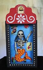Day of the Dead skeleton, Mermaid Relicario Wooden Niche Nicho, Mexican Folk Art