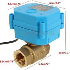 "Motorized Electrical Ball Valve DN15 G1/2"" 12V 2 Way CR01 2 Wire Brass Copper"
