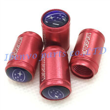 Aluminum Red Matting Car Wheel Tyre Tire Stem Air Valve Cap For Subaru Vehicles