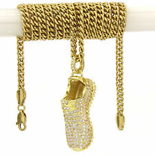 "Mens 14k Gold Plated Yeezy Shoes 350 YZY Cz Pendant Hip-Hop 30"" 3mm Cuban Chain"