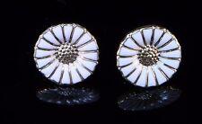 GEORG JENSEN Daisy Yellow Gold Plate & White Enamel Silver Earrings 11 mm