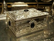 Silver Plated Jewellery Box With Black Gems For Necklaces Earrings Vintage