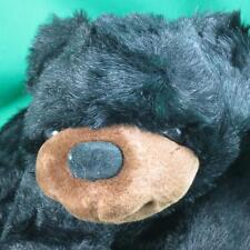 BIG SILKY BLACK SHINY GRIZZLY BEAR BETA TOYS RED BOW PLUSH STUFFED ANIMAL