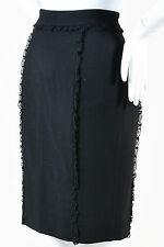 RED Valentino Black Woolen Ruffle Lace Trim Knee Length Pencil Skirt