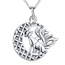 "Crescent Moon and Cute Nine-tailed Fox Animal Necklace 18""-925 Sterling Silver"