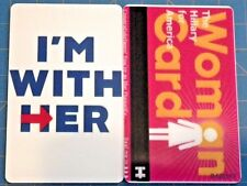 WOMAN CARD I'M WITH HER HILLARY CLINTON 2 SIDED PLASTIC ID CARD TAG LUGGAGE DNC