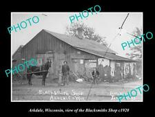 OLD LARGE HISTORIC PHOTO OF ARKDALE WISCONSIN, VIEW OF THE BLACKSMITH SHOP c1920