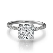 1 1/3 CT Enhanced Diamond Engagement Ring Cushion Cut F/SI1 14K White Gold