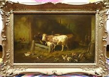 Fine Large 19th Farm Barn Cattle Chickens Turkey Scene Antique Oil Painting