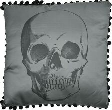 ANATOMICAL SKULL PILLOW Gray satin Black back punk By SOURPUSS