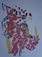"""ROBERT CALIX (1919/2008)     """" COMPOSITION TRICOLORE ROYAN """"  Signé"""