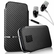 For XOLO Cube 5.0 - Carbon Fibre Pull Tab Case & Handsfree