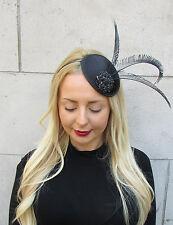 Black Statement Feather Fascinator Races Hat Headpiece Ascot Hair Headband 2302