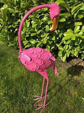 Large Metal Freestanding Pink Flamingo Garden Pond Stand Outdoor Ornament
