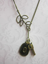 Cowboy hat gun leaf antique bronze charm pendant  vintage  Necklace western
