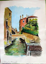Acquerello '900 su carta Watercolor - Scorcio di Burano ponte con scale - (120)