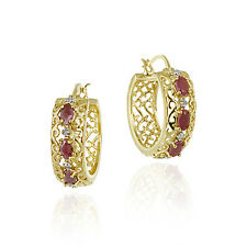 18K Gold over 925 Silver Ruby & Diamond Accent Filigree Hoop Earrings