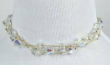 DABBY REID NEW Clear Ab Crystal Three Strand Necklace RMN4123G Y29