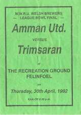 Amman United v Trimsaran 1992 West Wales Bowl Final Rugby Programme, Felinfoel