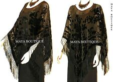 Black Silk Burnout Velvet Poncho Shawl Fringe Top Maya Matazaro One Size