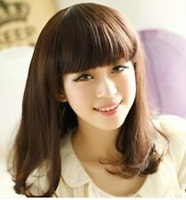 New Fashion Korean Women Mid-Long Slight Curly Wigs Full Synthetic Cosplay Brown