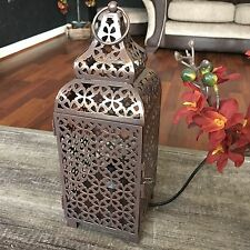 MOROCCAN METAL LANTERN TABLE LAMP WEDDING BEDSIDE TABLE METAL LANTERN LAMP LIGHT