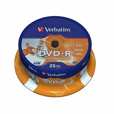 25 VERBATIM DVD-R FULL FACE INKJET STAMPABILI 4.7 GB (16x) 120min 43538 SPINDLE