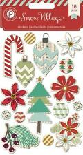 SNOW VILLAGE 16pc CHRISTMAS 3D Chipboard Stickers Pink Paislee Scrapbook Card