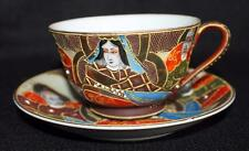 Vintage 50s SONE China SATSUMA Moriage Gilded JAPANESE IMMORTALS Cup & Saucer