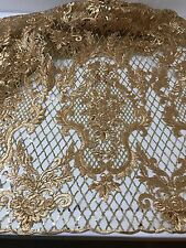 """ANTIQUE GOLD METALLIC EMBROIDERY SEQUINS BEIDAL LACE FABRIC 50"""" WiIDE 1 YARD"""