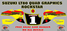 suzuki lt80 quad graphics stickers decals name & number lt 80 laminate vinyl roc