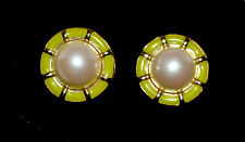Vintage Guy Laroche Goldtone Round Clip-On Earrings Green Enamel