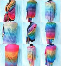 *US SELLER*lot of 10 rainbow paisley pashmina scarf viscose Wholesale Scarves