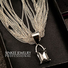 2016 New Fashion Multilayer Necklace For Women Black Square Rhinestone Pendant