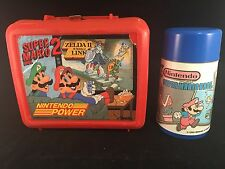 1989 NINTENDO POWER SUPER MARIO BROS 2 ZELDA II LINK PLASTIC LUNCH BOX + THERMOS