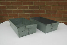 vintage industrial metal open filing box drawer tray no 12  3 garden planter pot