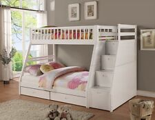 White Twin over Full Size Bunk Bed w/ Drawers Storage Staircase Kids Furniture