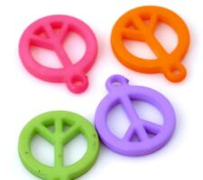 50 x Small Assorted Colours Acrylic Peace Charms - 14mm Pendant Art Craft Symbol