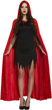 Red Velvet Con Cappuccio Vampiro Diavolo Cape Mantello Halloween Fancy Dress p7853