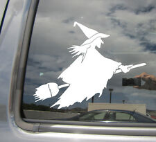 Witch on Flying Broom - Funny Humor Car Window Vinyl Die-Cut Decal Sticker 10010