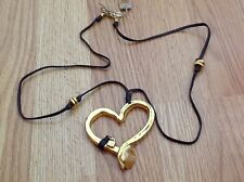 "NWT BIG Goldtone/Leather Heart Necklace ""Hungry Heart"" $405"