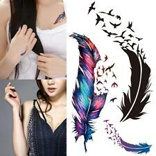Women Removable Waterproof Temporary Body Art Feather Birds Tattoo Stickers