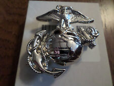 U.S MILITARY ISSUE MARINE CORPS EGA AUTOMOBILE PLATE EMBLEM U.S.A MADE NICKLE
