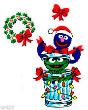 "4"" SESAME STREET CHRISTMAS OSCAR & GROVER FABRIC APPLIQUE IRON ON"