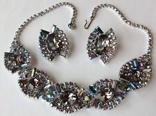 VINTAGE JULIANA SILVERY GRAY RHINESTONE NECKLACE AND EARRINGS